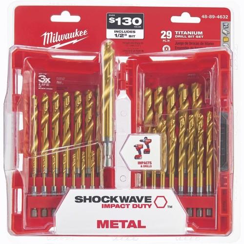 Milwaukee Shockwave 29-Piece Impact Duty Titanium Hex Shank Drill Bit Set - 48-89-4632