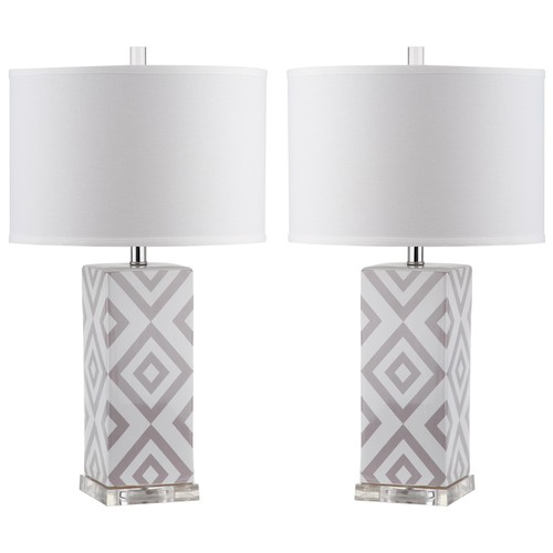 Set of Two Diamonds Table Lamps in Grey design by Safavieh