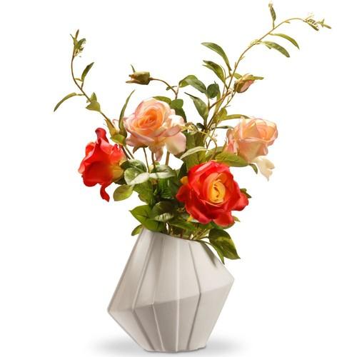 National Tree Company 22 in. Pink Roses in Ceramic Pot