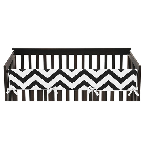 Sweet Jojo Designs Black and White Chevron Collection Brushed Microfiber Long Crib Rail Guard Cover