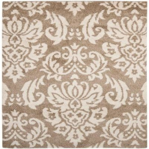 Safavieh Florida Shag Beige/Cream 5 ft. x 5 ft. Square Area Rug