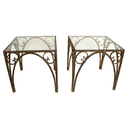 Sculptural Italian Side Tables, Pair