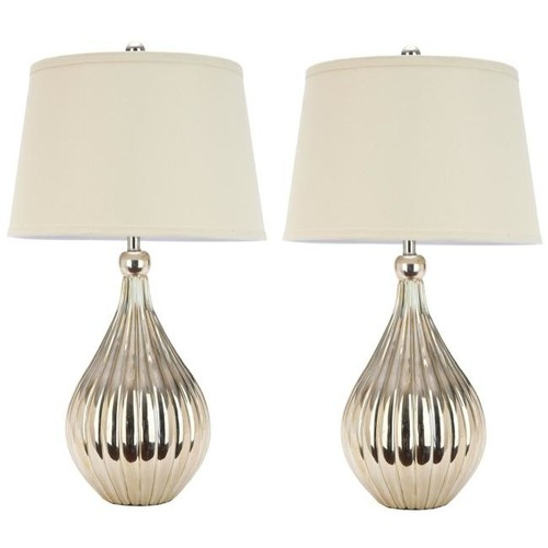 Safavieh Indoor 1-light Champagne Curved Table Lamps (Set of 2)