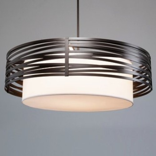 Tempest Drum Chandelier with Shade [Light Option : Incandescent; Finish : Flat Bronze]