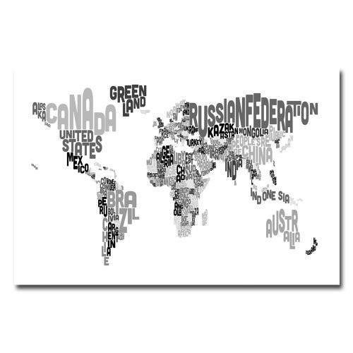 World Text Map V by Michael Tompsett, 16x24-Inch Canvas Wall Art [16 by 24-Inch]