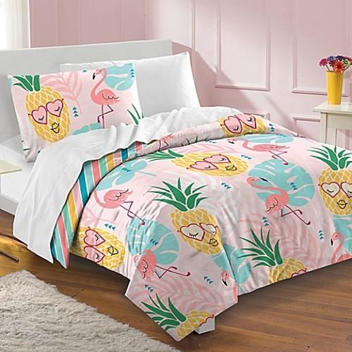 Dream Factory Pineapple Toddler Comforter Set in Pink