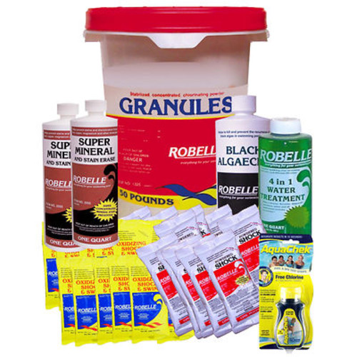Robelle Chemical Maintenance Kit with 50 Lb. Concentrated Chlorinating Granules for Inground Pools Over 25,000 Gallons
