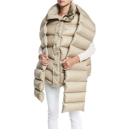 BALENCIAGA Oversized Quilted Down Vest W/Detachable Scarf