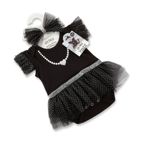 Baby Aspen My First Party Dress with Headband, Black/White/Silver [My First Party Dress with Headband]