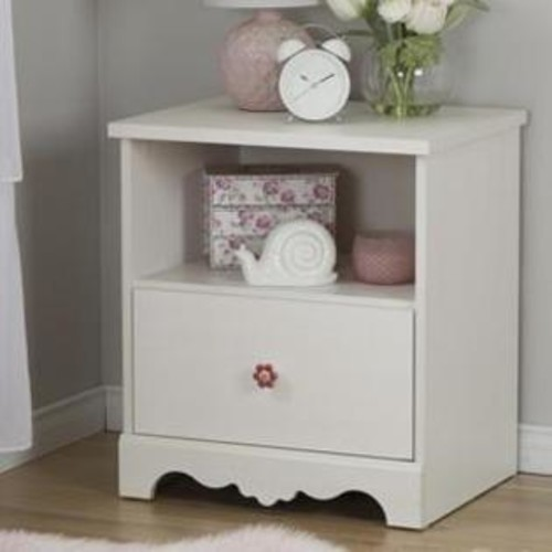 South Shore 10076 Lily Rose 1-Drawer Nightstand, White Wash
