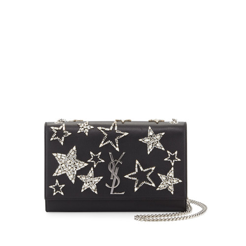 SAINT LAURENT Monogram Medium Star Chain Shoulder Bag, Black