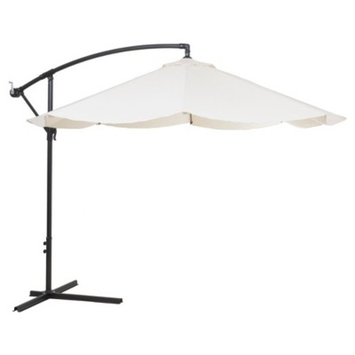 Pure Garden 10 ft. Offset Aluminum Hanging Patio Umbrella in Tan