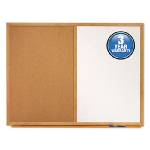 Quartet Mfg. S553 Bulletin/Dry-Erase Board, Melamine/Cork, 36 x 24, White/Brown, Oak Finish Frame