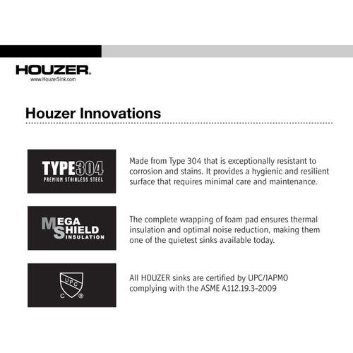 HOUZER Savoir Series Undermount Stainless Steel 12 in. Single Bowl Kitchen Sink, Satin Brushed