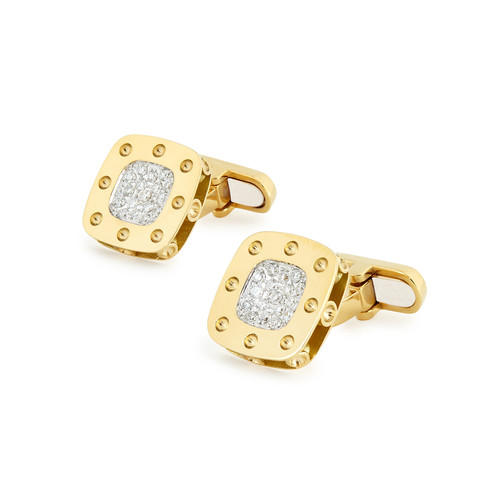 Pois Moi 18k Yellow Gold Square Diamond Cuff Links