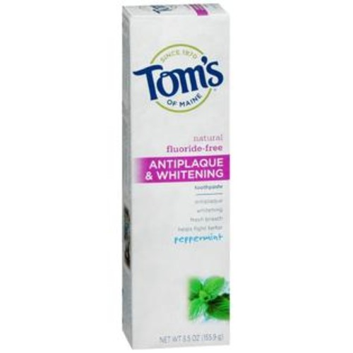 Tom's of Maine Antiplaque & Whitening Fluoride-Free Toothpaste Peppermint, 5.5 OZ