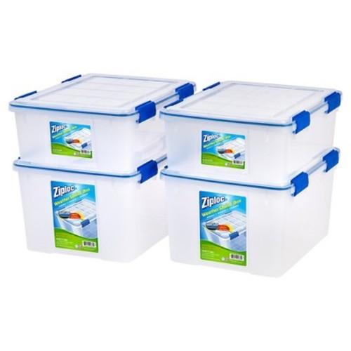 Ziploc WeatherShield Storage Box - 4 PC Stacking Set - 26.5 Qt & 44 Qt