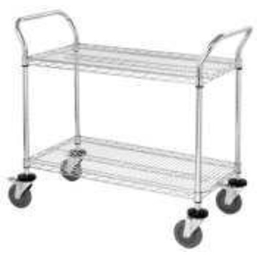 Quantum Storage Systems WRC-2442-2 2-Tier Wire Utility Cart, 2 Wire Shelves, 5