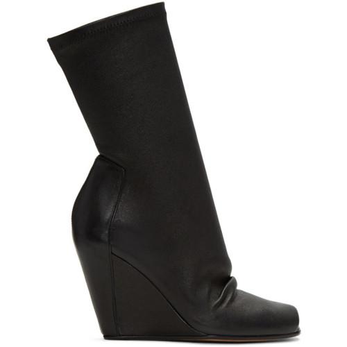 RICK OWENS Black Sock Wedge Boots