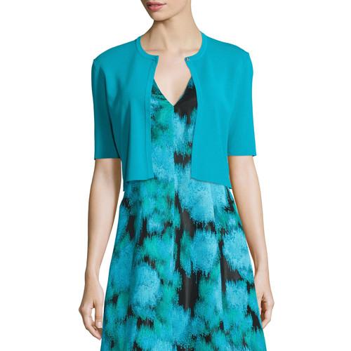 LELA ROSE Half-Sleeve Cropped Cardigan, Green