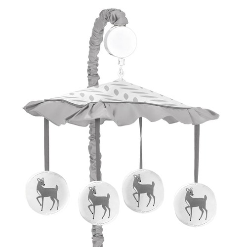 Sweet Jojo Designs Forest Deer Collection Musical Mobile - Grey and White
