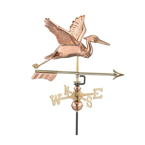 Good Directions Blue Heron with Arrow Garden Weathervane-Pure Copper with Garden Pole
