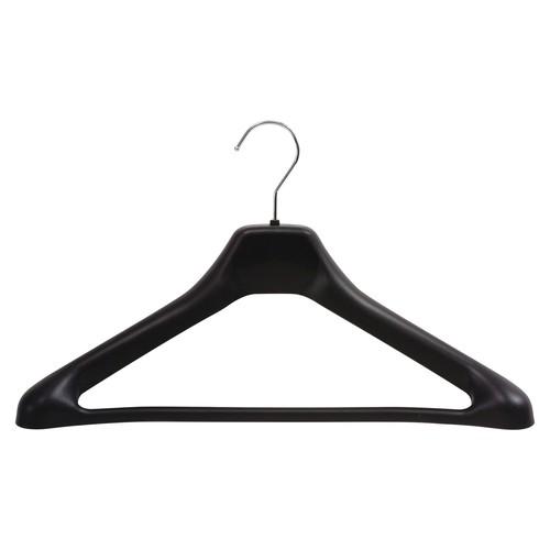 Safco 1-piece Plastic Hangers, Black, Chrome Hook, 24 / Carton (Quantity)