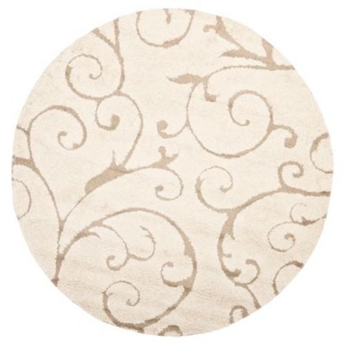 Cream/Beige Abstract Shag/Flokati Loomed Round Accent Rug - (4' Round) - Safavieh