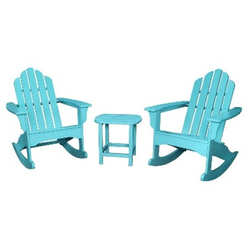 Hanover Outdoor Furniture 3-Piece All-Weather Rocking Adirondack Patio Set - Aruba