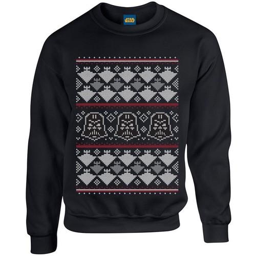 Star Wars Christmas Darth Vader Imperial Starship Sweatshirt - Black