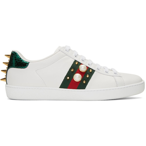 GUCCI White Studded Ace Sneakers
