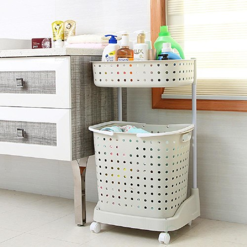 Basicwise 2 Tier Plastic Laundry Basket with Wheels