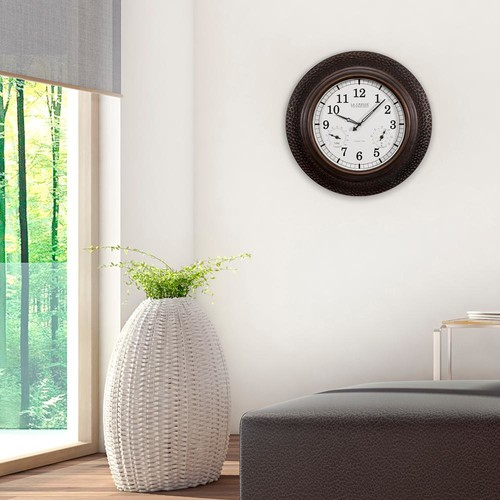 La Crosse Technology 22 in. Round Polyresin Atomic Analog Wall Clock with Temperature and Humidity