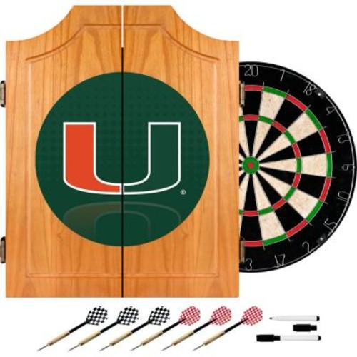 Trademark Global University of Miami Reflection 20.5 in. Wood Dart Cabinet Set