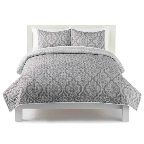 The Big One Damask Geo Print Quilt Set