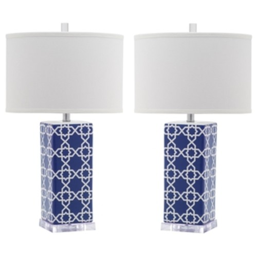 Safavieh Lighting 27-inch Navy Diamonds Table Lamp (Set of 2)