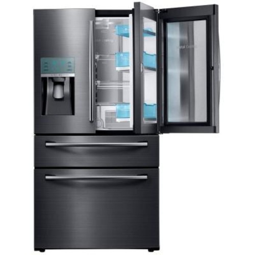 Samsung 27.8 cu. ft. Food Showcase 4-Door French Door Refrigerator in Black Stainless Steel