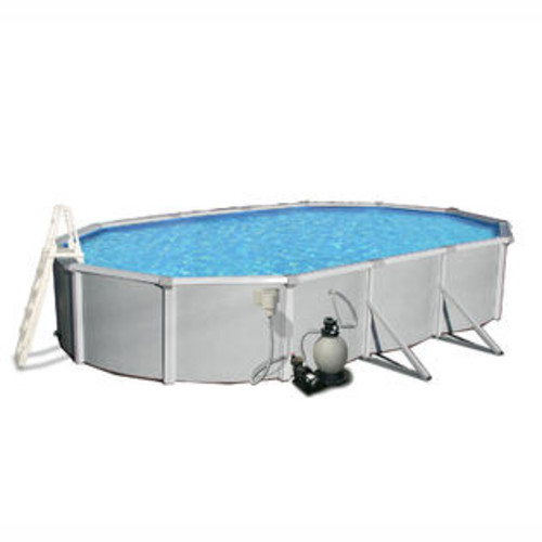 Swim Time Samoan 12-ft x 24-ft Oval 52-in Deep 8-in Top Rail Metal Wall Swimming Pool Package Size: 30' L x 15' W