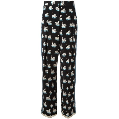 STELLA MCCARTNEY Swan Print Frayed Trousers