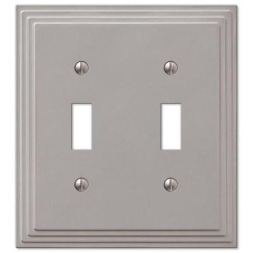 Hampton Bay Tiered 2-Toggle Wall Plate - Satin Nickel Cast