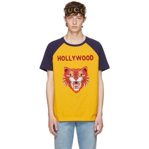 GUCCI Yellow & Blue 'Hollywood' Tiger T-Shirt