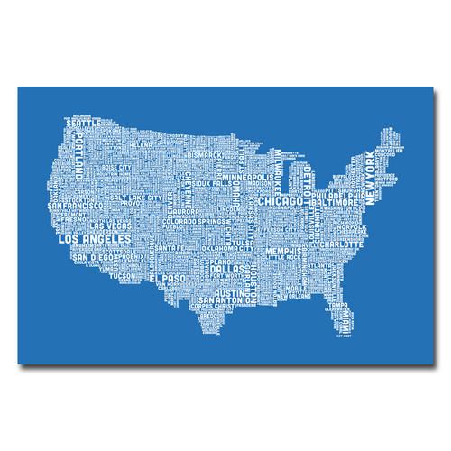 Trademark Global Michael Tompsett 'US City Map XIII' Canvas Art