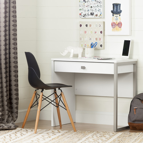 South Shore Interface Desk with 1 Drawer, Pure White