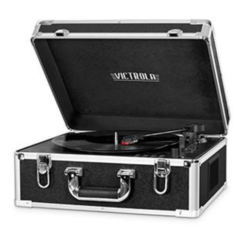 Innovative Technology Victrola 3-Speed Bluetooth Suitcase Turntable with CD Player and Speakers, Black