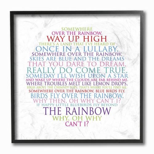 Somewhere Over The Rainbow' Circle Typog Framed Giclee Texturized Art