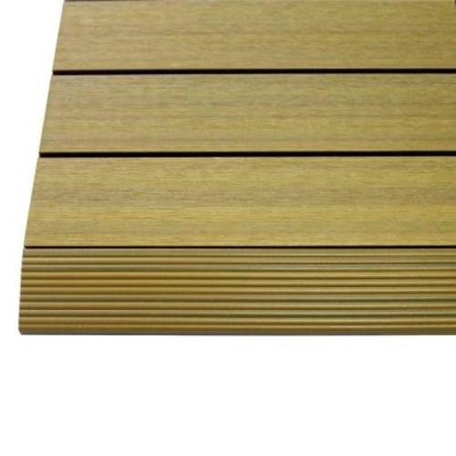 TechWood 1/6 ft. x 1 ft. Quick Deck Composite Deck Tile Straight Trim in English Oak (4-Pieces/box)