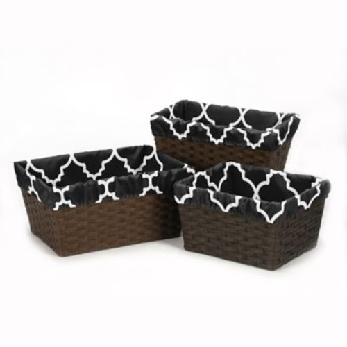 Sweet Jojo Designs Trellis Basket Liners in Black and White (Set of 3)