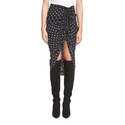 VERONICA BEARD Ari Ruched Silk Polka-Dot Skirt, Black
