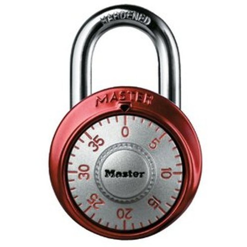 Master Lock 1561DAST Combination Dial Padlock with Aluminum Cover, 1-7/8-Inch Wide Body, 9/32-Inch Diameter Shackle, Color May Vary [Colors May Vary with Silver Dial]