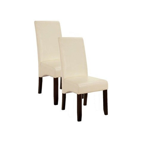 Pilaster Designs - Set of 2 Cream White Parson Chairs With Espresso Finish Solid Wood Legs